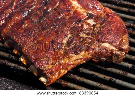 BBQ Ribs Close Up - stock photo