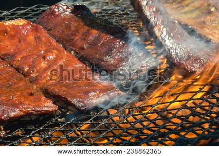 BBQ ribs on the Grill - stock photo