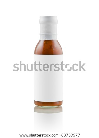 BBQ sauce with blank label - stock photo
