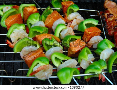 BBQ sticks with meat and vegetables - stock photo