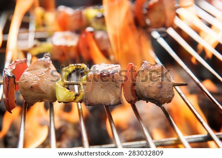 BBQ with cooking. coal grill of chicken meat and peppers.  - stock photo