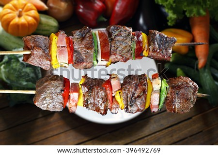 BBQ with kebab cooking - stock photo