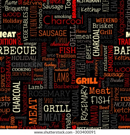 BBQ word seamless pattern on the black background