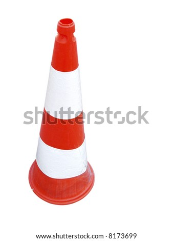be careful red and white cone - stock photo