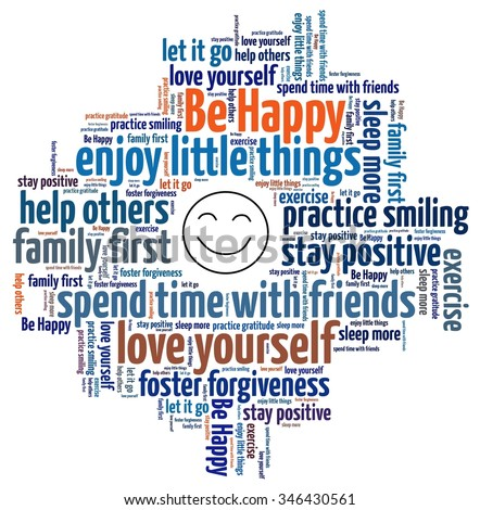 Be Happy concept in word collage - stock photo