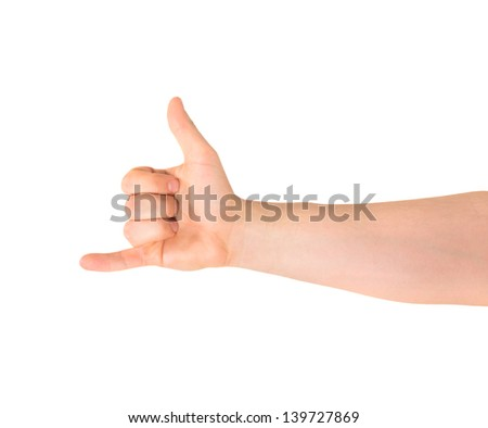 Be in touch or a call sign caucasian hand gesture isolated over white background