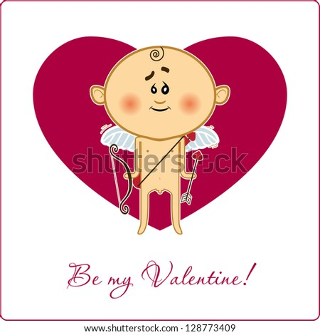 Be my valentine card with cupid. Raster version. - stock photo