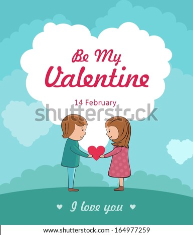 be my valentine concept with cute couple in love.  - stock photo