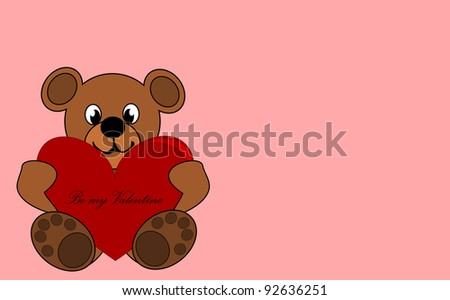 Be my Valentine - cute teddy bear with red heart. - stock photo