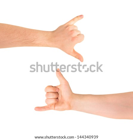 Be on a call caucasian hand gesture isolated over white background, set of two foreshortenings