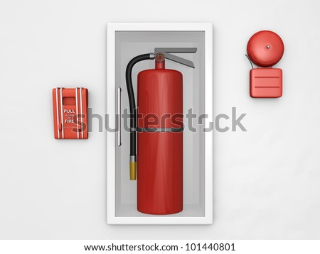 Be prepared for fire safety with all the essential tools all in one image - stock photo