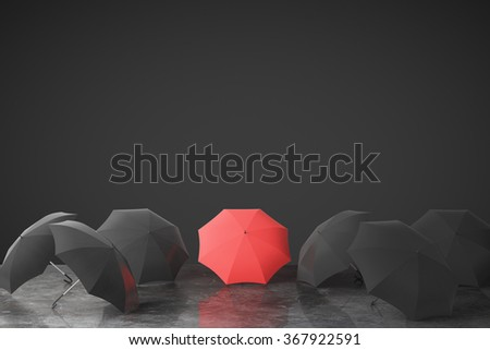 Be unique concept with many black umbrellas and one red on concrete floor at black wall background 3D Render - stock photo
