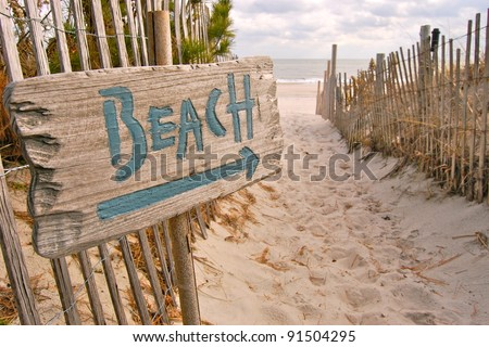 "Beach Access with ""Beach"" Sign - stock photo"