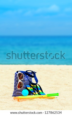Beach accessories. Concept of summer vacations.