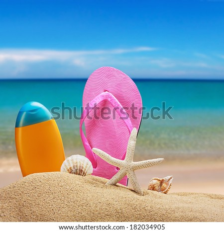 beach accessories for relaxing in the sand - stock photo