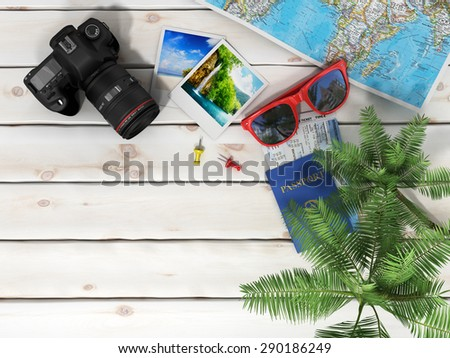 Beach accessories on the wood background. - stock photo