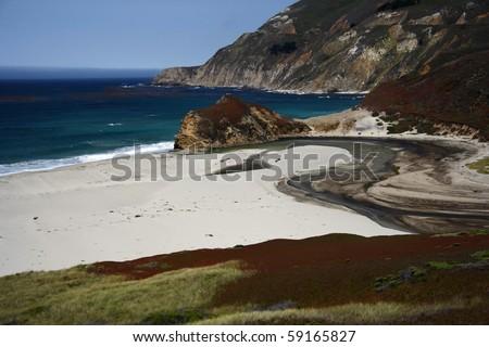 Beach along the Pacific Coast in Central California - stock photo