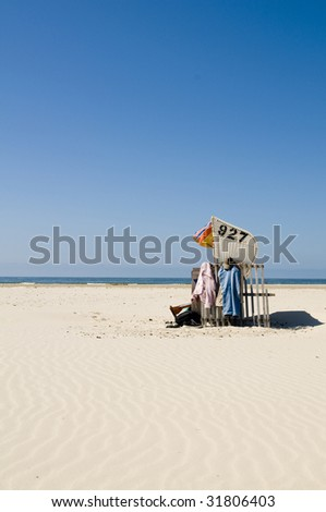 beach and beach chair - stock photo