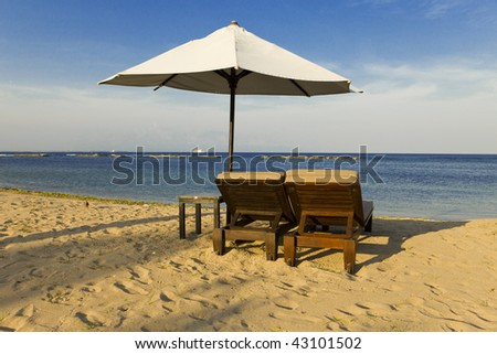 beach and beach umbrella