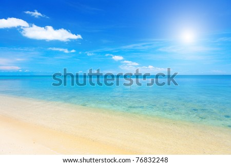 beach and beautiful tropical sea - stock photo