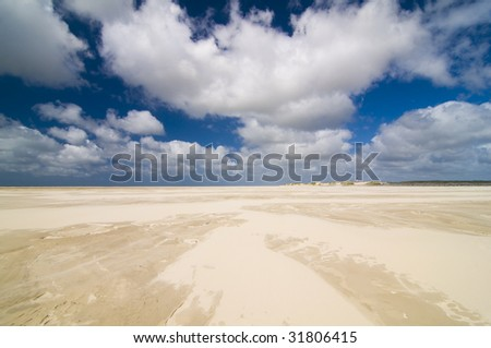 beach and blue sky - stock photo