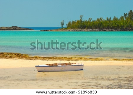 Beach and boat in Bahamas