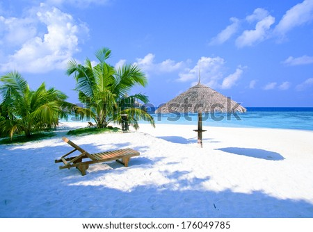 beach and chairs - stock photo