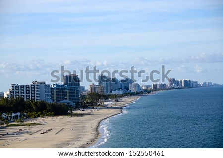 Beach and cityscape of Ft. Lauderdale, Florida taken from Port Everglades - stock photo
