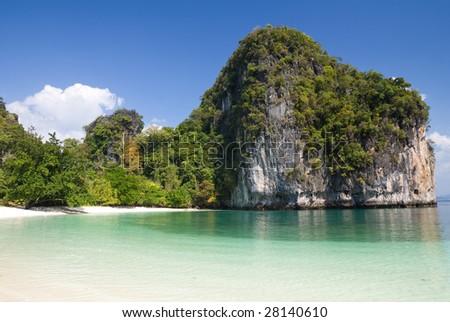 Beach and cliffs of Hong Island, Krabi province, Thailand - stock photo