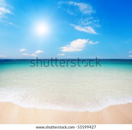 beach and cloudy sky - stock photo