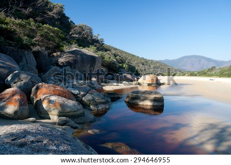 Beach and coastline of Wilson Promontory National Park in Victoria, Australia