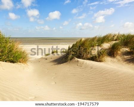 Beach and dunes at Knokke-heist, Belgian north sea coast - stock photo