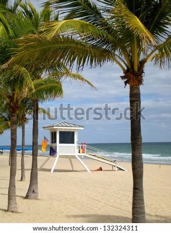 Beach and lifeguard cabin - stock photo