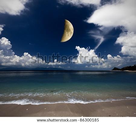 beach and moon - stock photo