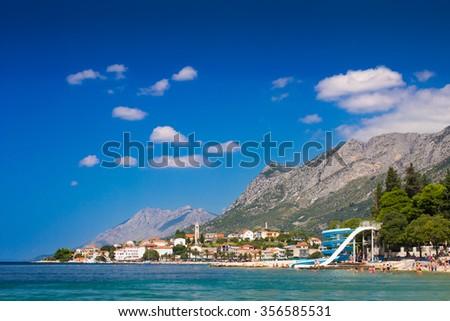 Beach and mountains in Gradac, Croatia - stock photo