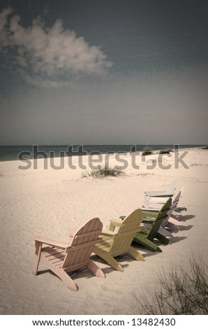 Beach and ocean scenic postcard from an age gone past - stock photo