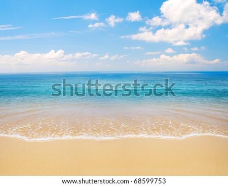 beach and sea - stock photo