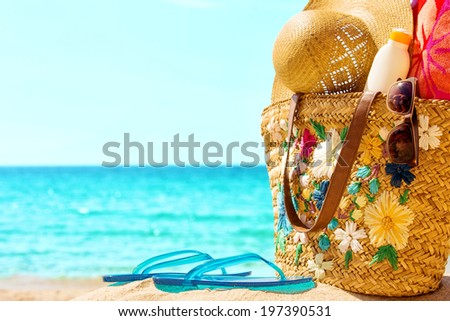 Beach and sea elements,at the sunny sea. - stock photo