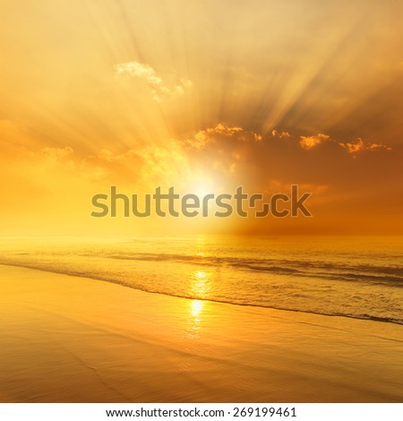 Beach and sea sunset for background - stock photo