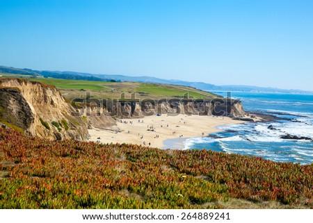 Beach and seaside cliffs at Half Moon Bay California - stock photo