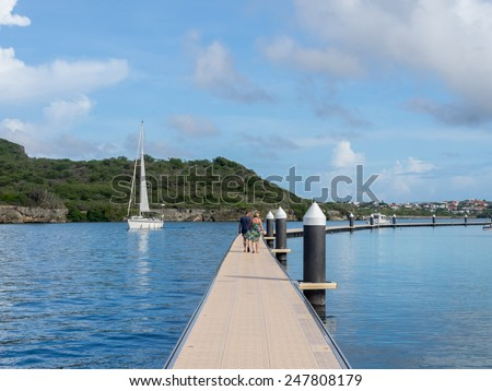 Beach and Swimming Pool Curacao   in the Dutch Antilles a Caribbean Island - stock photo