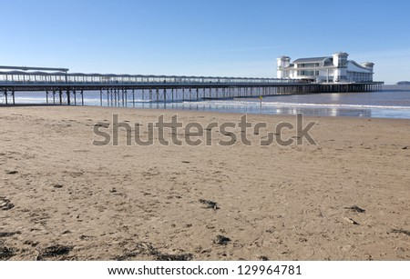 Beach and The Grand pier, Weston Super Mare, Somerset - stock photo