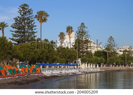 Beach and the seafront of Kos island in Greece - stock photo