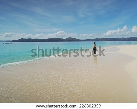 beach and tropical sea, island. Dimakya, Palawan.