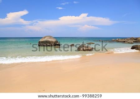 beach and tropical sea  phuket Thailand - stock photo
