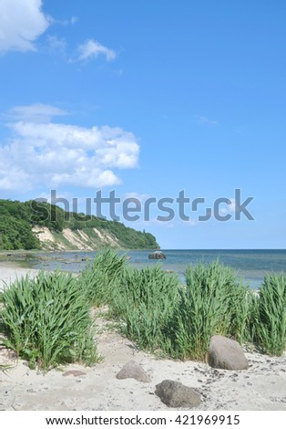 Beach and View to Kap Nordperd in Goehren on Ruegen Island at baltic Sea,Mecklenburg Western Pomerania,Germany - stock photo