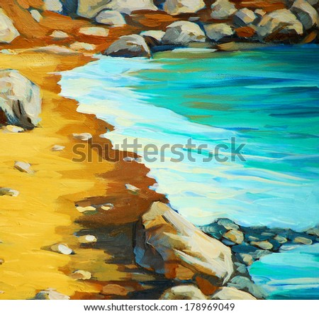 beach and waves, painting by oil on canvas, illustration - stock photo