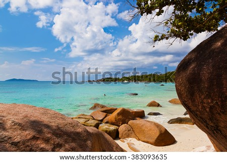 Beach Anse Lazio at island Praslin Seychelles - nature background - stock photo