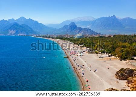 Beach at Antalya Turkey - travel background - stock photo