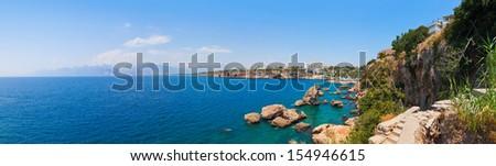 Beach at Kaleici in Antalya, Turkey - travel background - stock photo